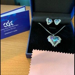 18K White Gold Angel Wing Heart Necklace & Earring